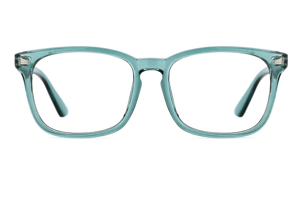 TIJN Blue, Light, Blocking Glasses, Square Nerd, Eyeglasses, Frame Anti Blue Ray, Computer Game, Glasses