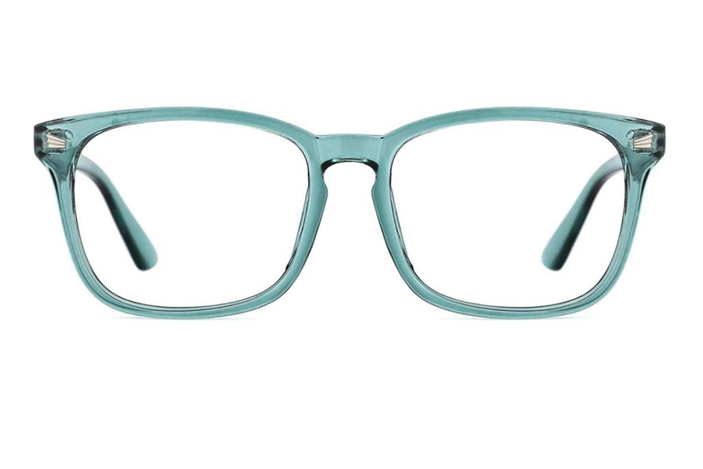 TIJN Blue, Light, Blocking Glasses, Square Nerd, Eyeglasses, Frame Anti Blue Ray, Computer Game, Glasses