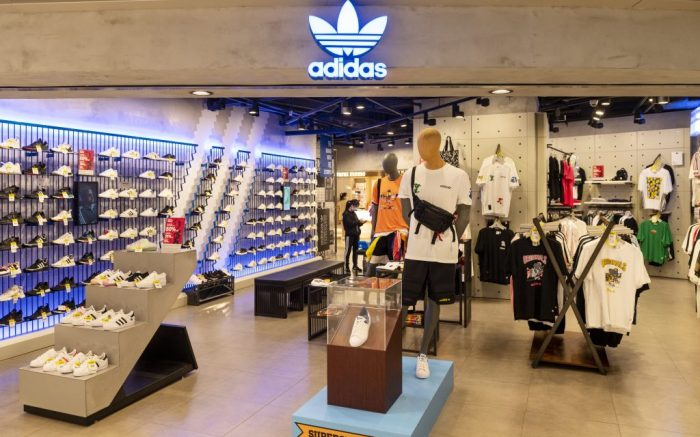 German multinational sportswear clothing brand, Adidas store seen in Hong Kong. (Photo by Budrul Chukrut / SOPA Images/Sipa USA)(Sipa via AP Images)