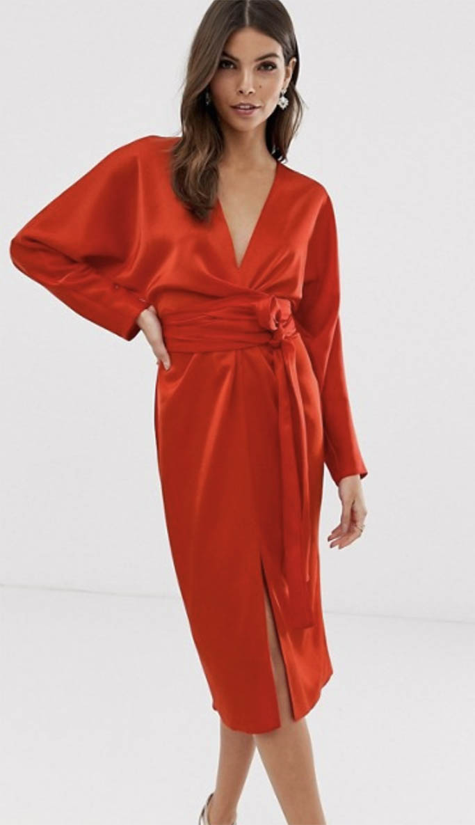 asos midi dress, red wrap dress