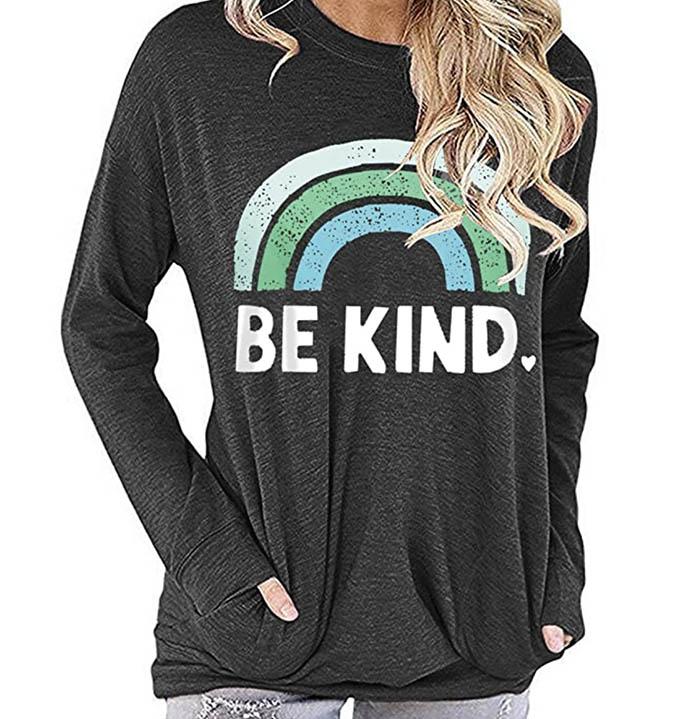 be kind sweater, sweatshirt, rainbow