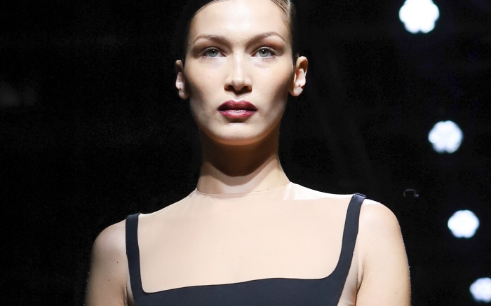 Bella Hadid during the Mugler show as part of the Paris Fashion Week Womenswear Fall/Winter 2020/2021