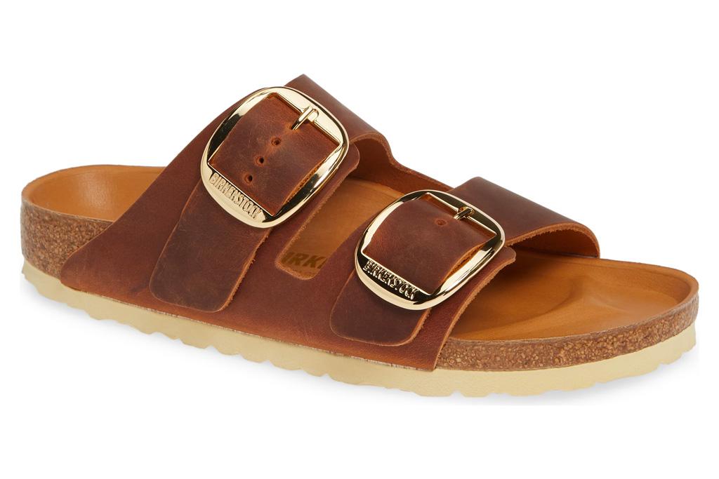 birkenstock, sandals, brown, gold, arizona, big buckle