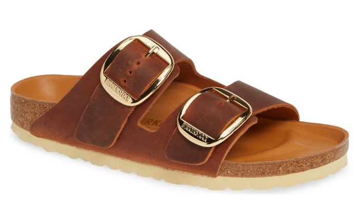 birkenstock, sandals, brown, gold, arizona, big buckle