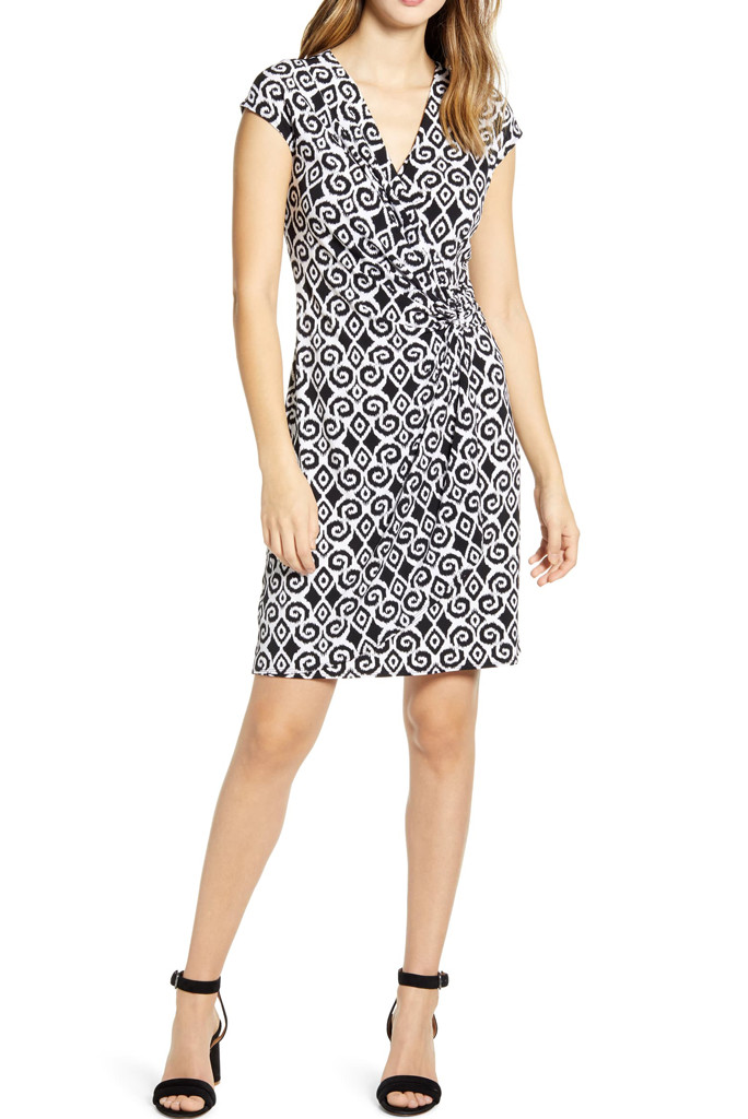 black and white wrap dress, how to dress like meghan markle, tommy bahama wrap dress