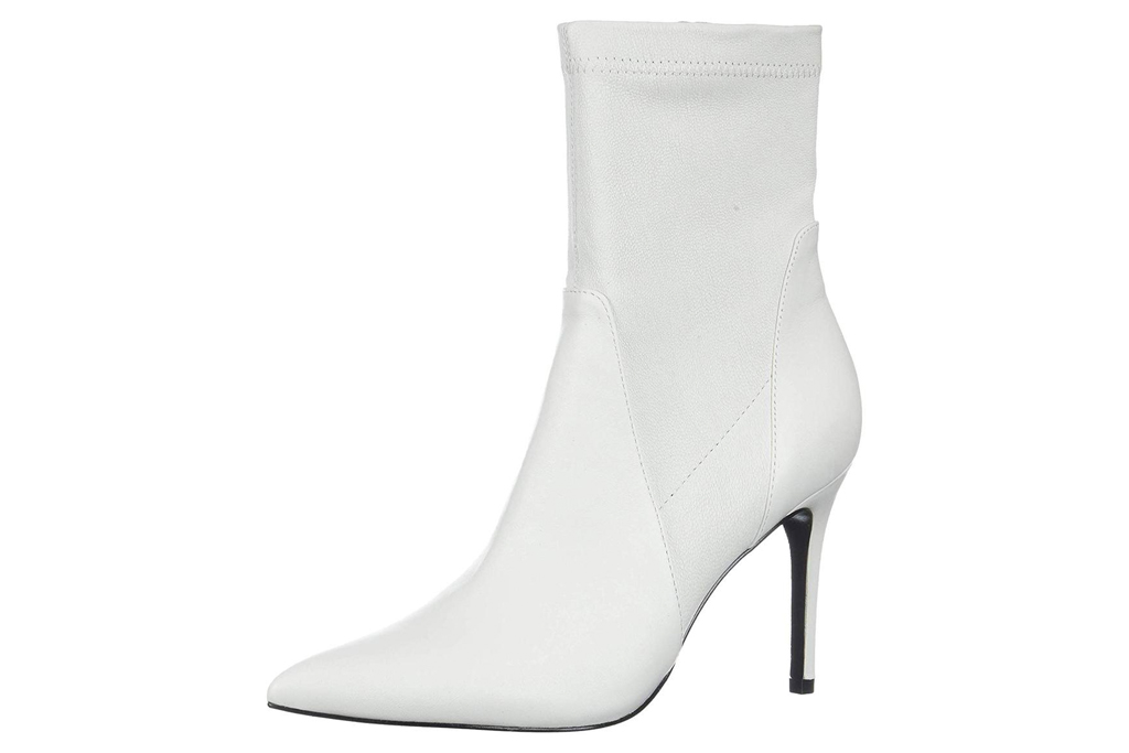 white, booties, pointed toe, heels, charles david