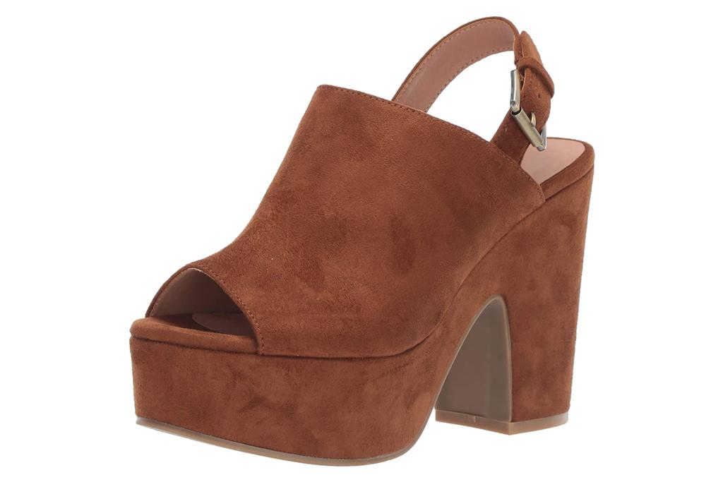 brown sandals, platform, heels, peep toe, chinese laundry