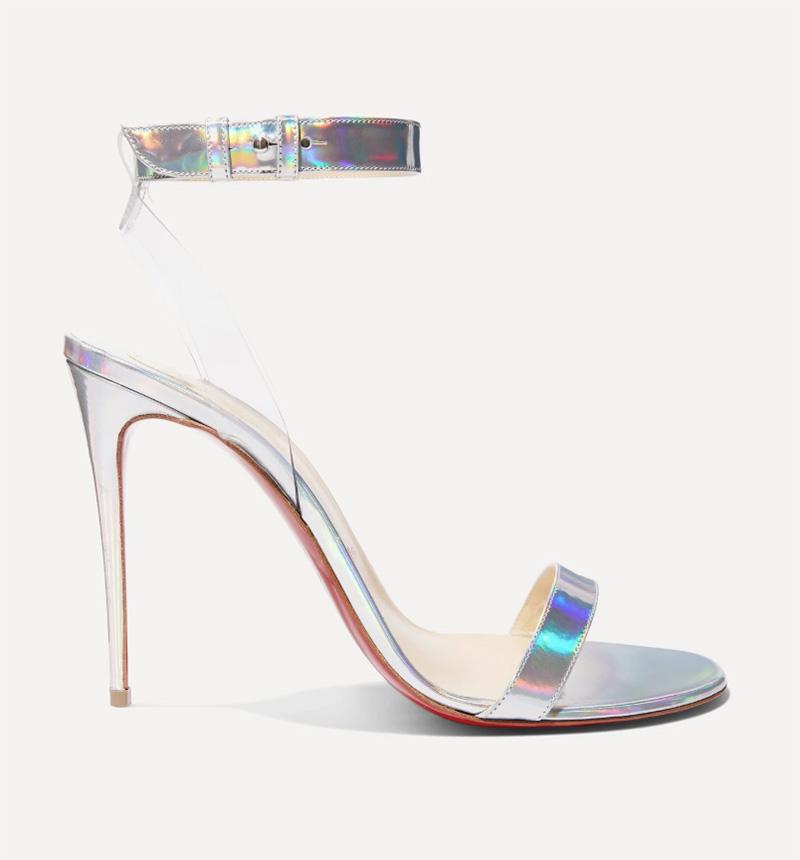 louboutin, christian louboutin, heels, silver, pvc