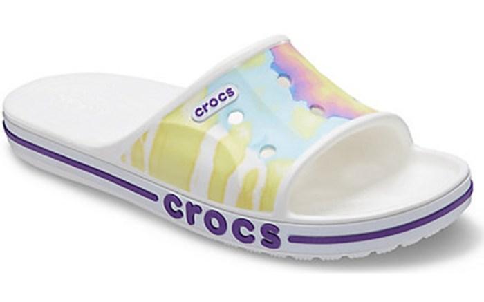 crocs bayaband tie dye mania slide, crocs sale, tie-dye slides