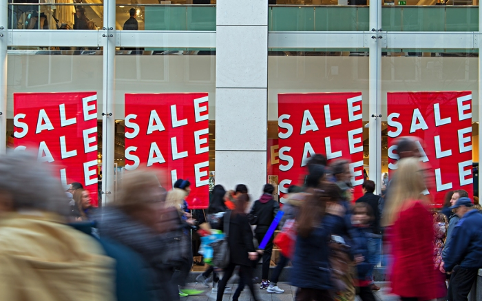 People out shopping in the post christmas sales