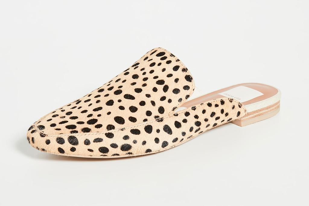 cheetah, flat, mule, shoes, dolce vita