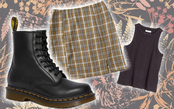 Dr. Martens 1460 boot, WDIRARA Plaid Mini Skirt, Westville Tank Top from Madewell.