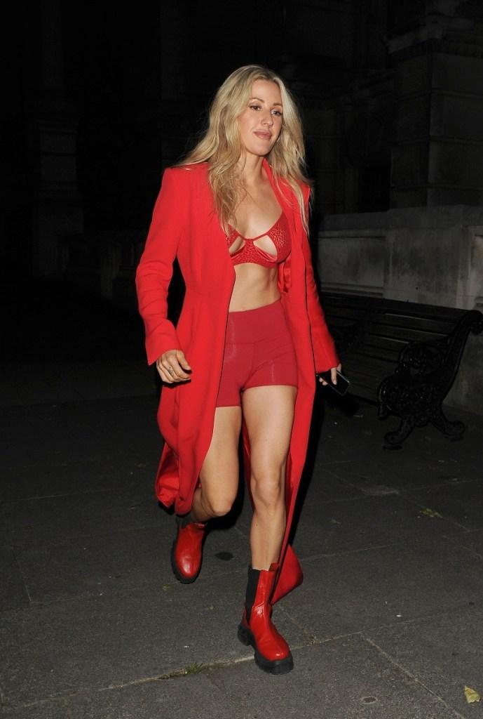 ellie goulding, red, shorts, bralette, boots, jacket, london