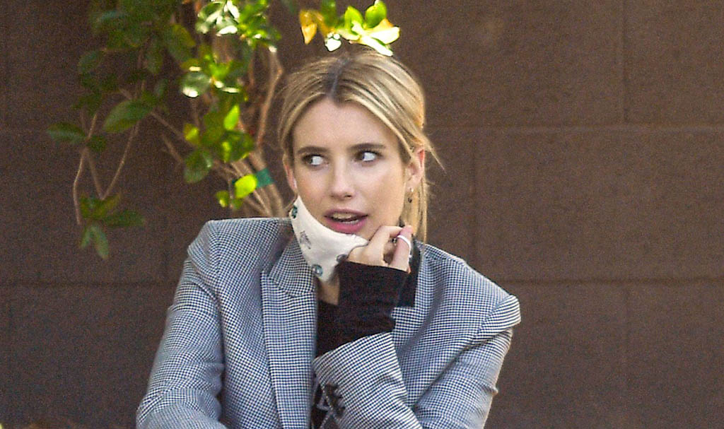 Pregnant Emma Roberts Coordinates Two Checkered Patterns for a Comfy Maternity Look