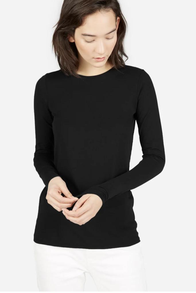 everlane shirt, cotton black long sleeve shirt, meghan markle shirt