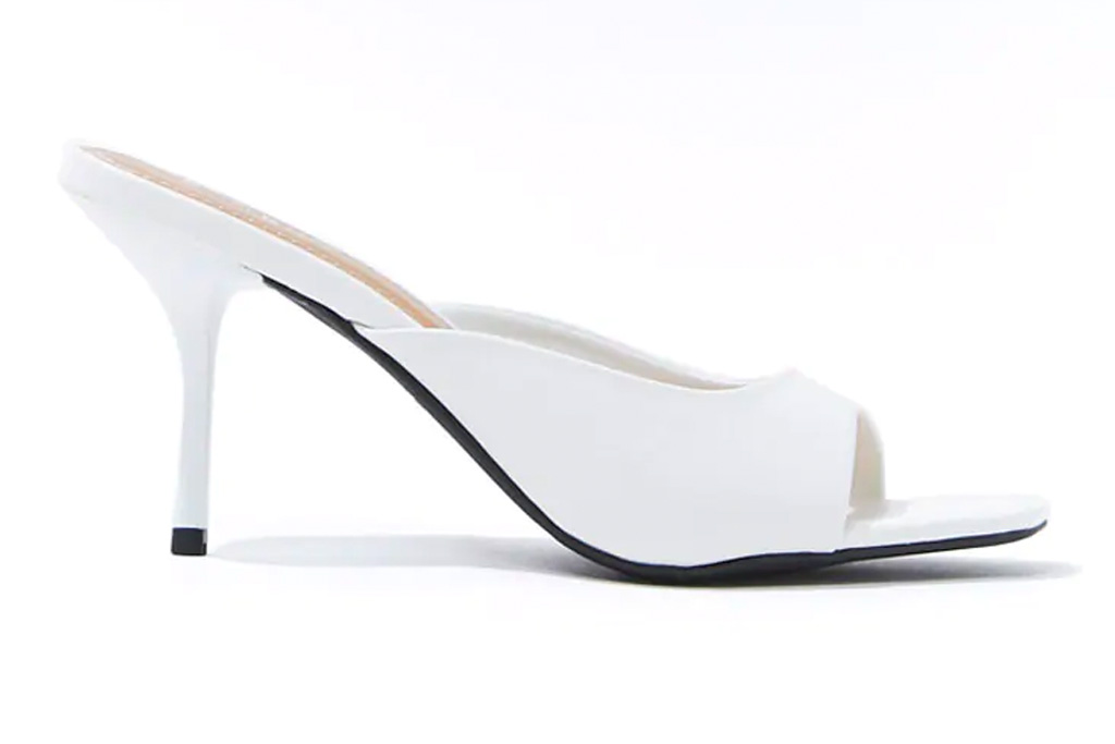 forever 21, white mules, heels, sandals, square toe