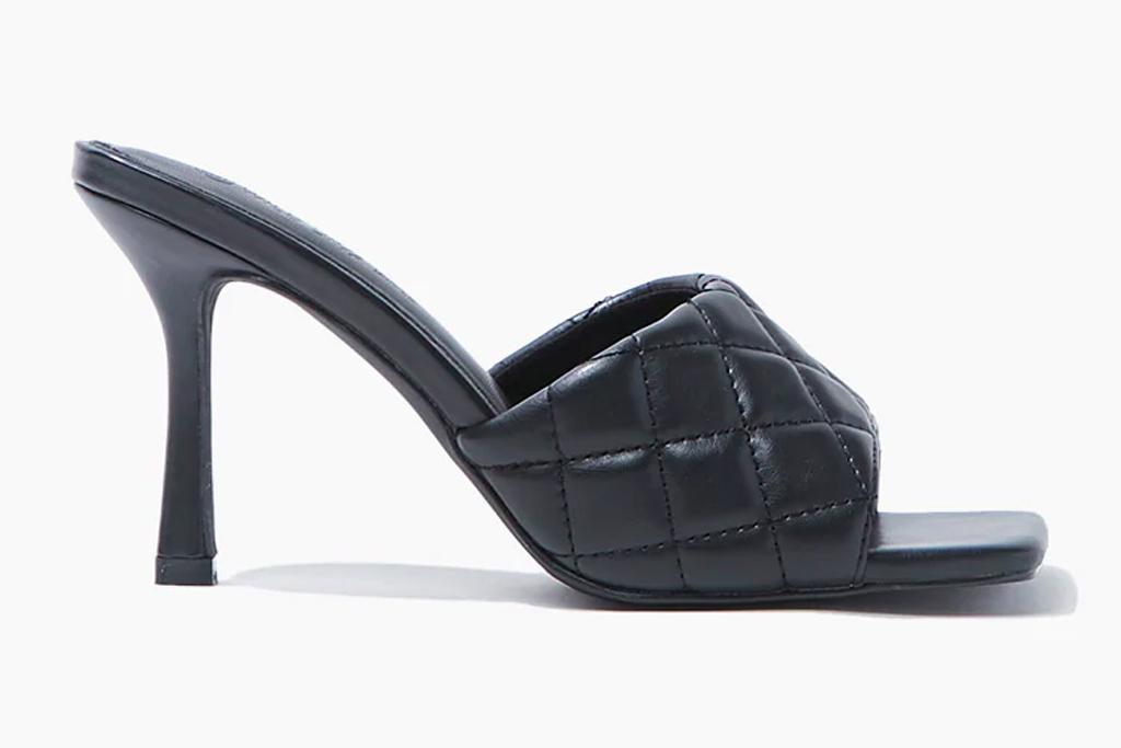 black, square toe, heels, mules, open toe, forever 21