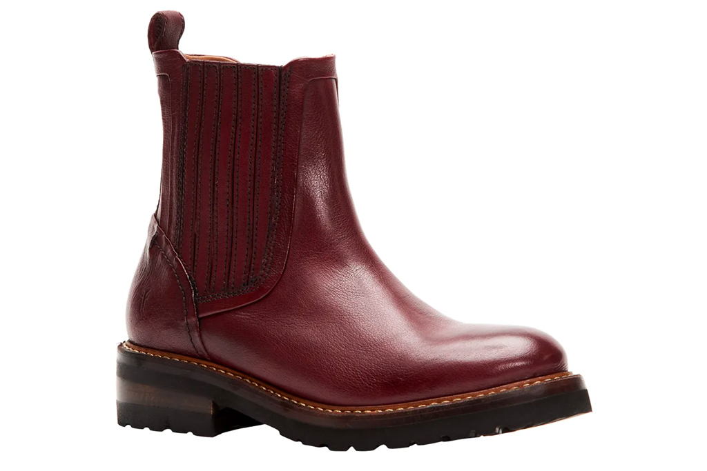 boots, red, burgundy, lug, sole, chelsea, frye