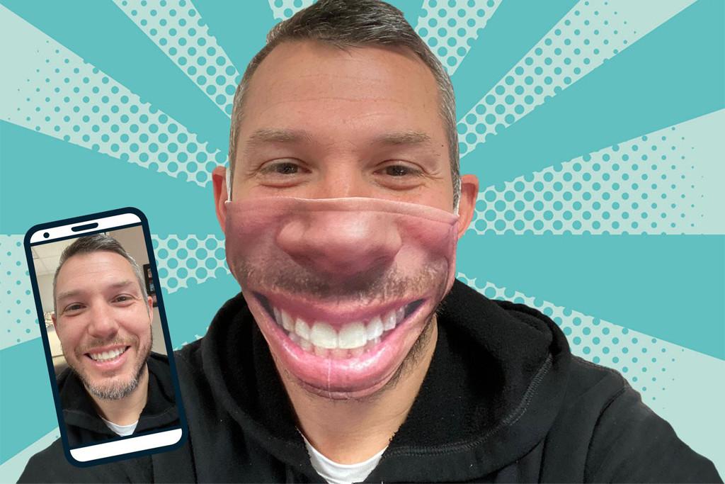 funny face mask, silly face mask, etsy
