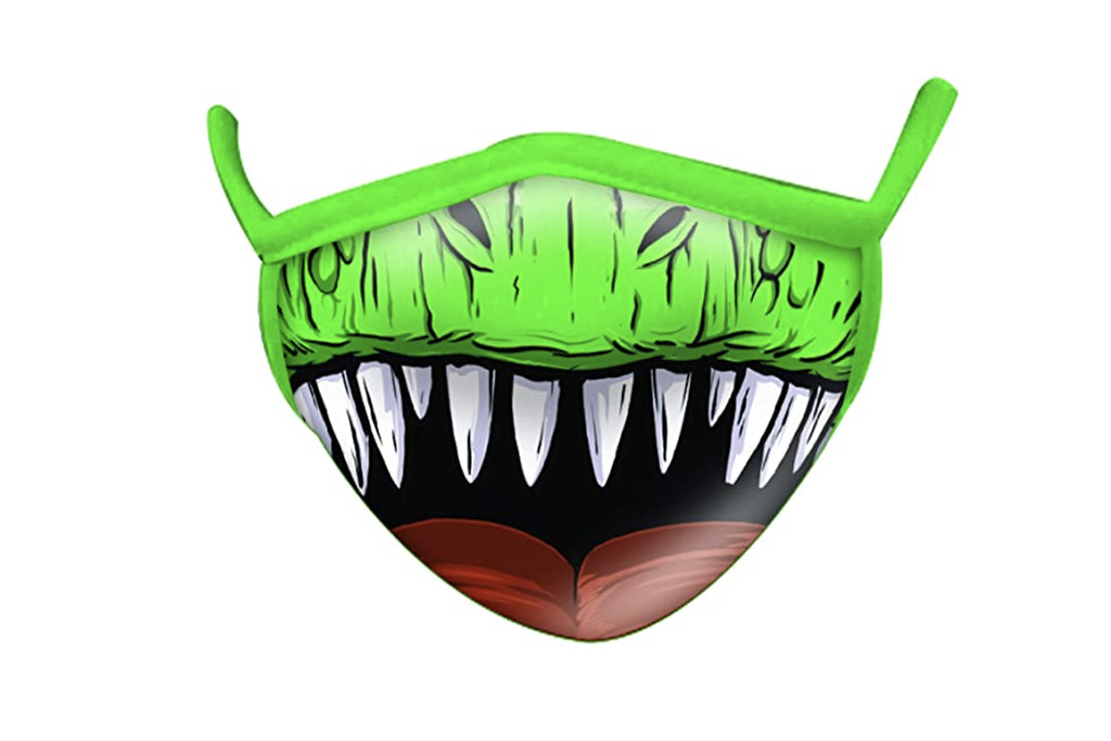 funny face mask, silly face mask, dino face mask