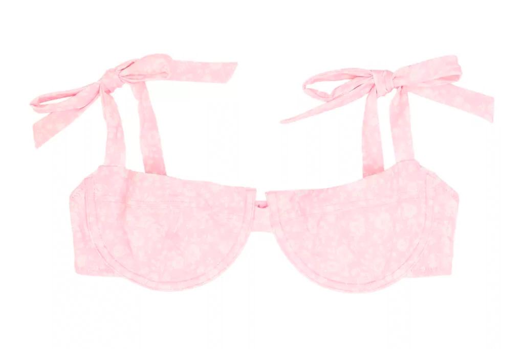 ganni, bathing suit, bra, pink