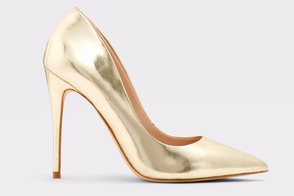 aldo, pumps, gold, metallic