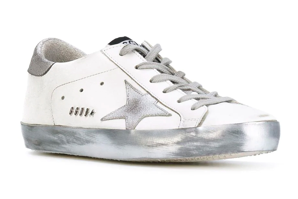 golden goose, sneakers, style, silver, white