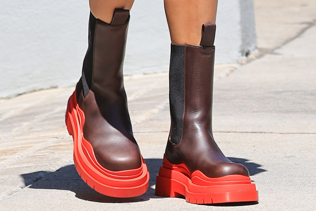 hailey baldwin, boots, red, lug-sole, chelsea, blazer, shorts, bralette, mask, los angeles