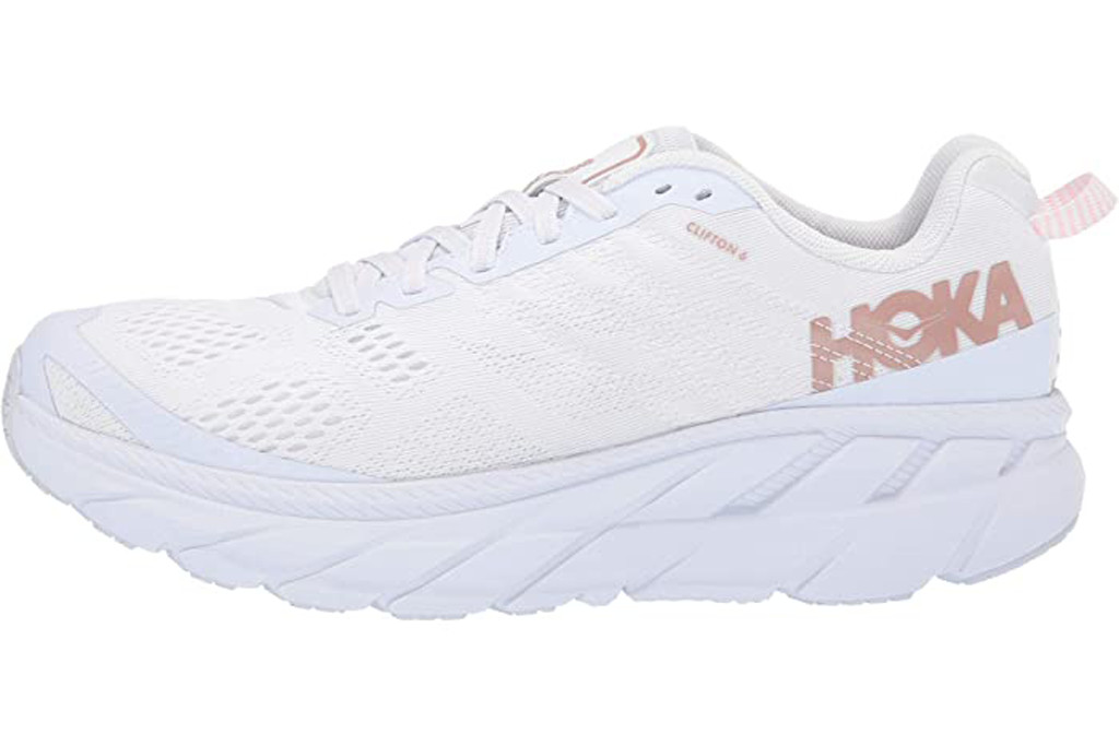 hoka one one clifton 6, white running shoes, chunky shoes