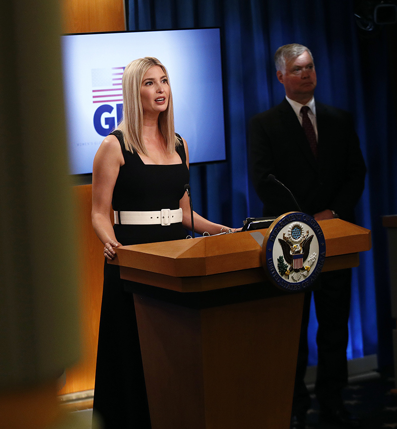Ivanka Trump, the daughter and advisor to President Donald Trump, speaks during a briefing on the Women's Global Development and Prosperity initiative, Tuesday, Aug. 11, 2020, at the U.S. State Department in Washington. Standing behind Trump is Deputy Secretary of State Stephen Biegun. (AP Photo/Patrick Semansky)