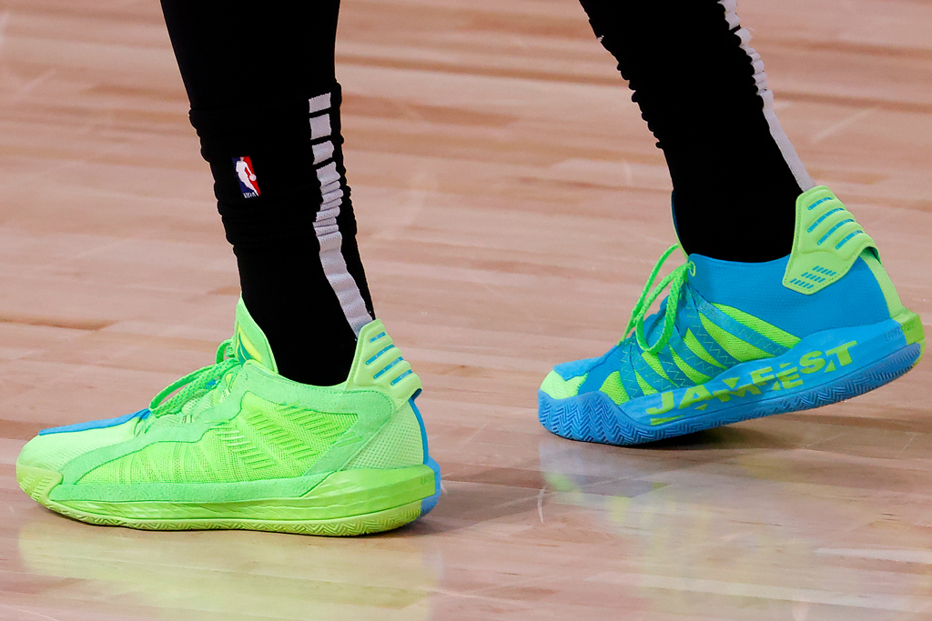 jaylen brown, shoes, sneakers, adidas, dame 6, green, blue, neon, celtics, nba, game