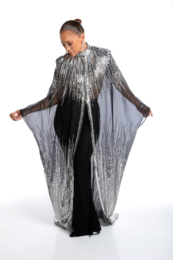 jennifer lopez, j-lo, world of dance, silver dress, sheer, black, cape, heels, pants, wod
