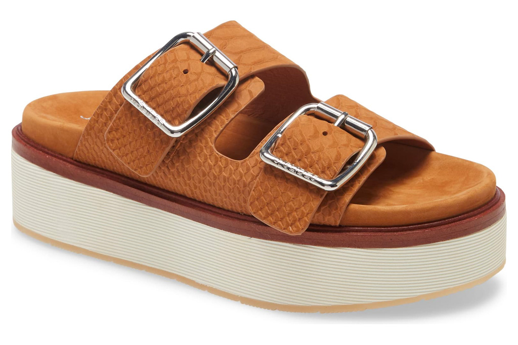jslides, sandals, brown, platform, slide