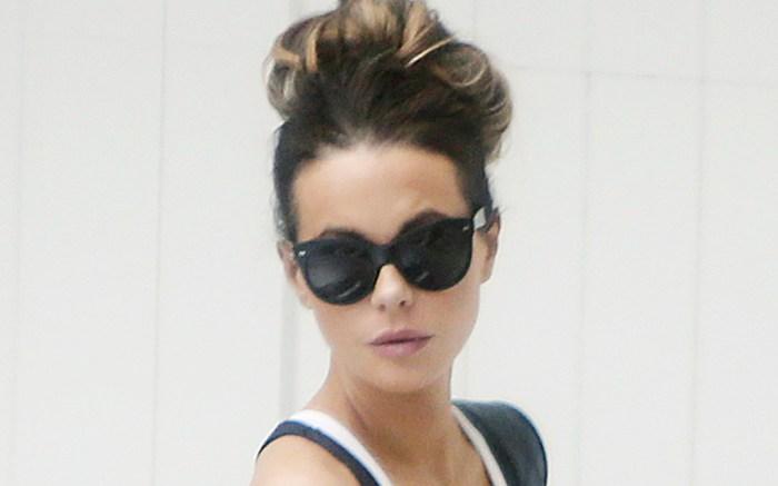 kate beckinsale, style, sunglasses, hair, bikini, sports bra