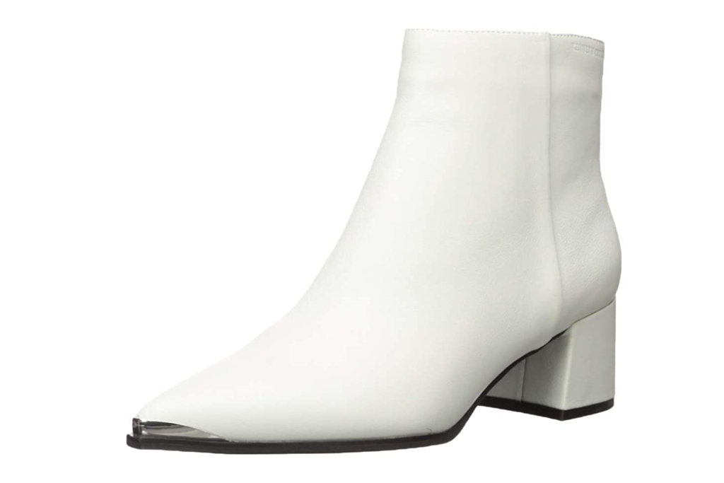 white, booties, pointed toe, heels, kenneth cole