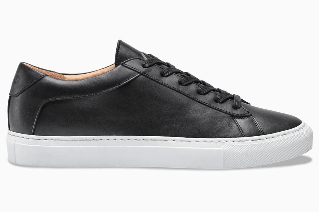 sneakers, black, leather, white sole, white, koio