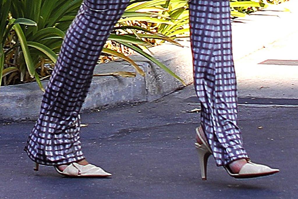kylie jenner, charlotte knowles, bottega veneta, shirt, heels, tube top, pants, gingham