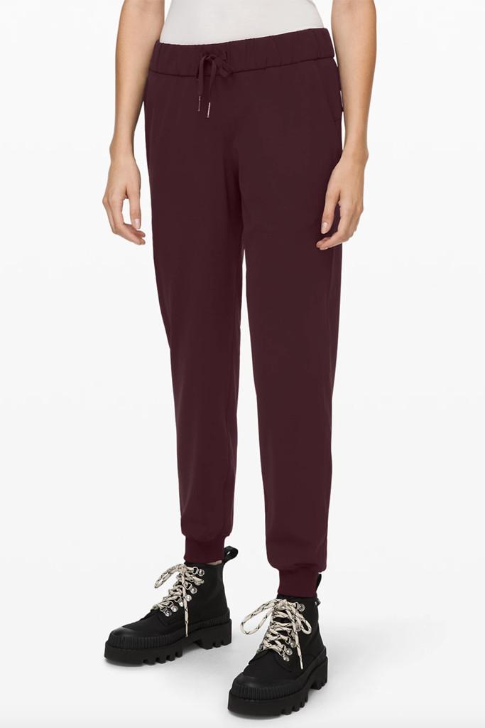 lululemon sweats, lululemon pants, red sweatpants
