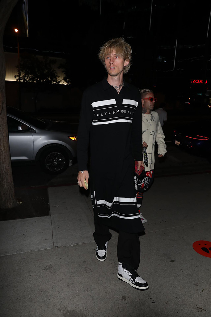Machine Gun Kelly is seen going to dinner solo at BOA. 10 Aug 2020 Pictured: Machine Gun Kelly. Photo credit: iamKevinWong.com / MEGA TheMegaAgency.com +1 888 505 6342 (Mega Agency TagID: MEGA693623_007.jpg) [Photo via Mega Agency]