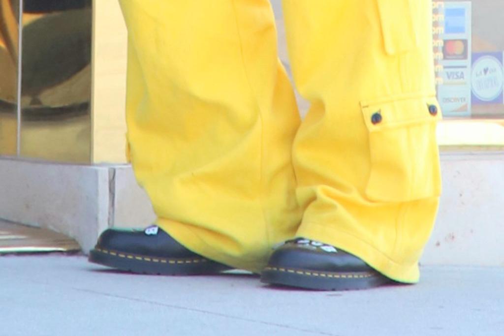 machine gun kelly, boots, pants, shirt, hat, yellow, combat boots, dr martens