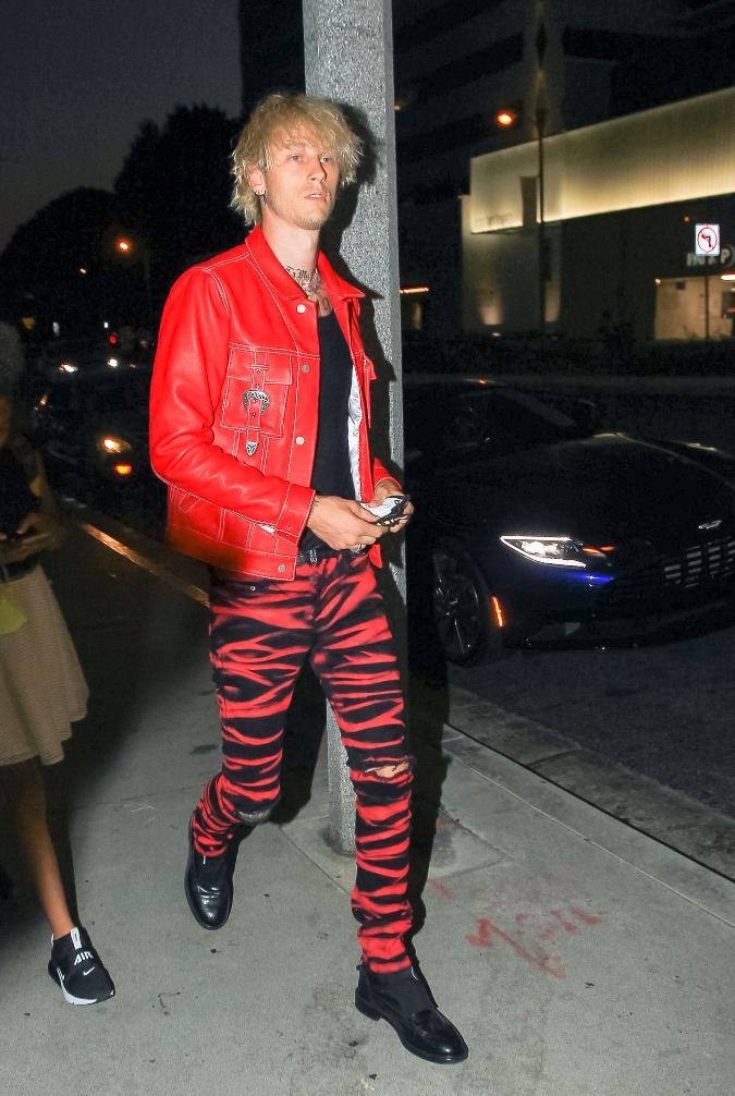 machine gun kelly, red, boots, pants, zebra, stripe, jacket