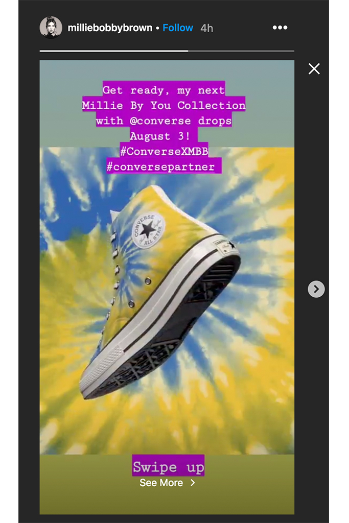 millie bobby brown x converse, millie bobbi brown instagram, instagram stories