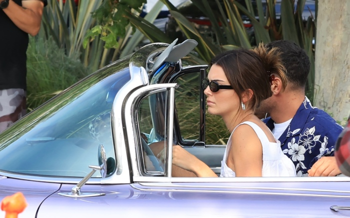 Kendall Jenner visits Soho house in her classic Cadillac