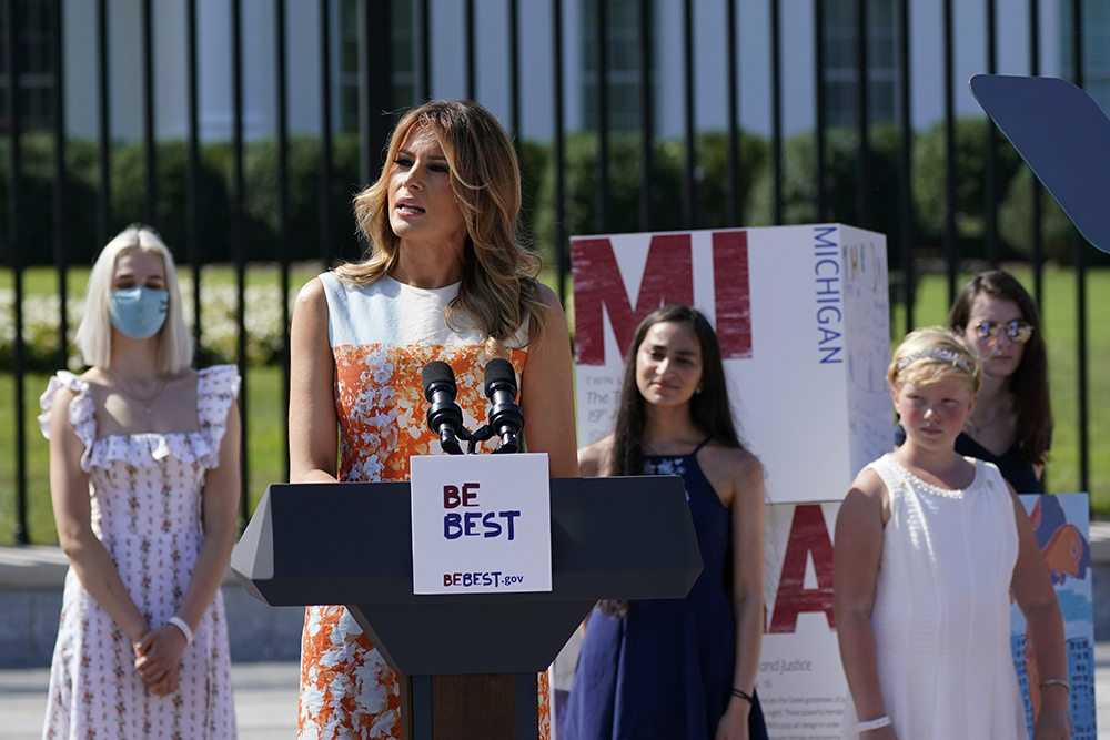 melania trump, first lady, style, dress, heels, be best, shoes, womens suffrage, 19th amendment