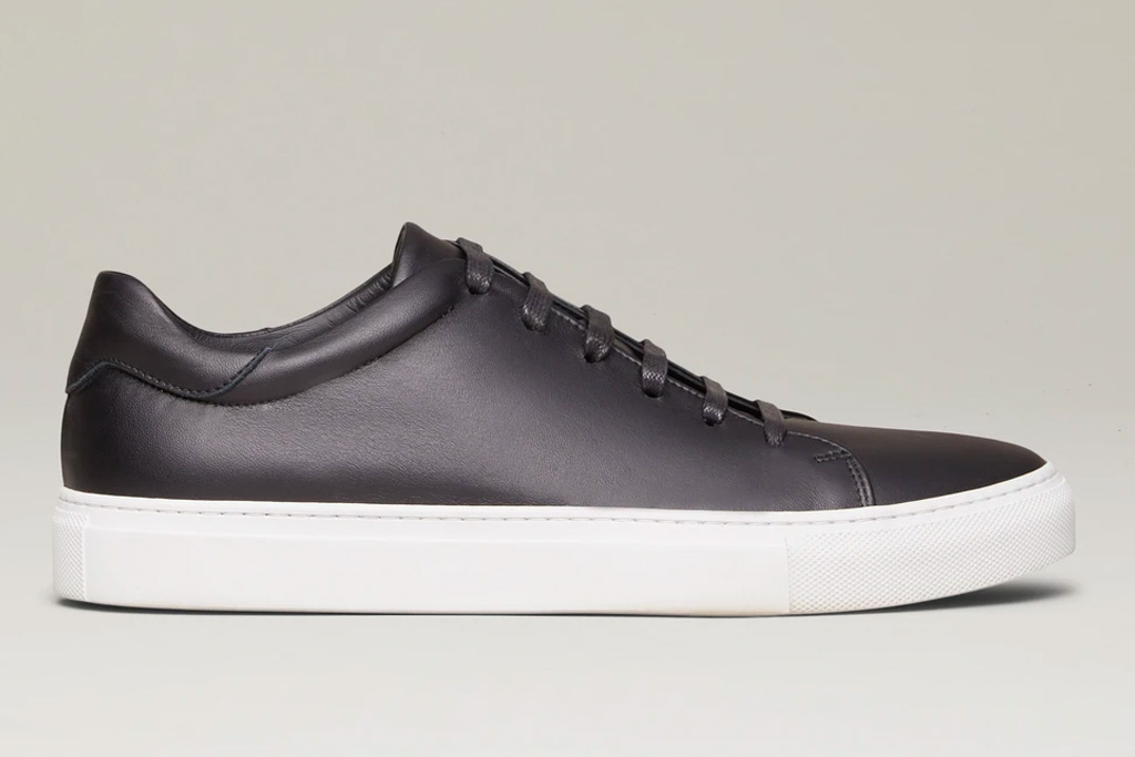 sneakers, black, leather, white sole, white, m.gemi
