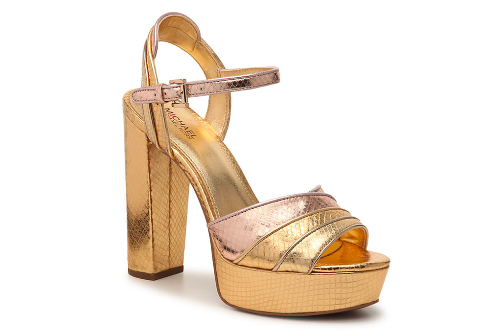 michael michael kors, metallic, sandals, gold, platform, heel
