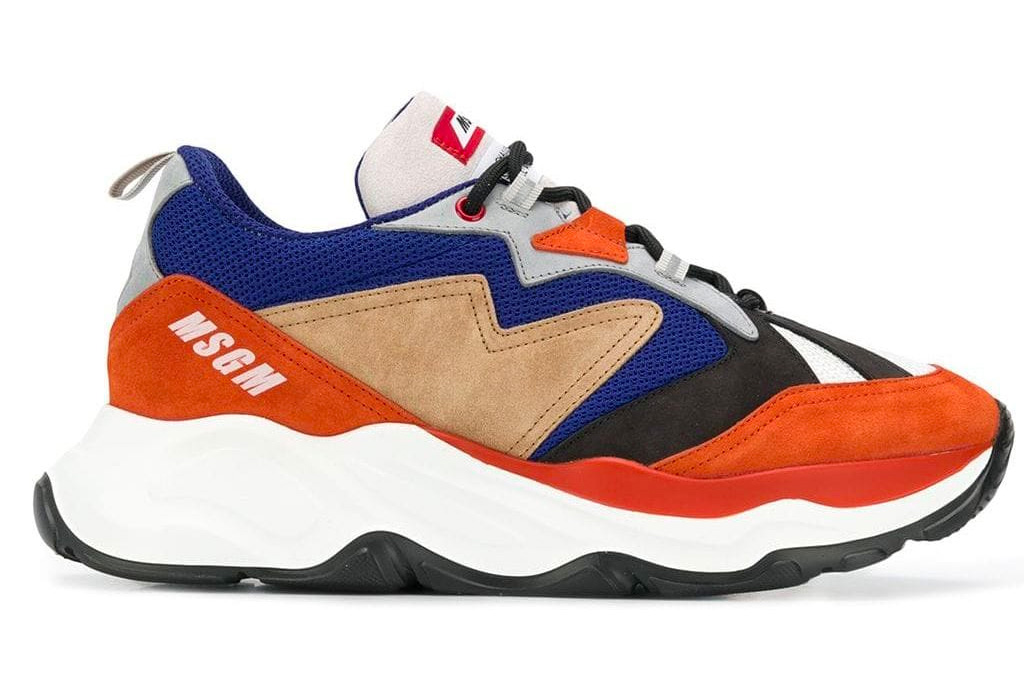 msgm, sneakers, chunky, blue, orange, white