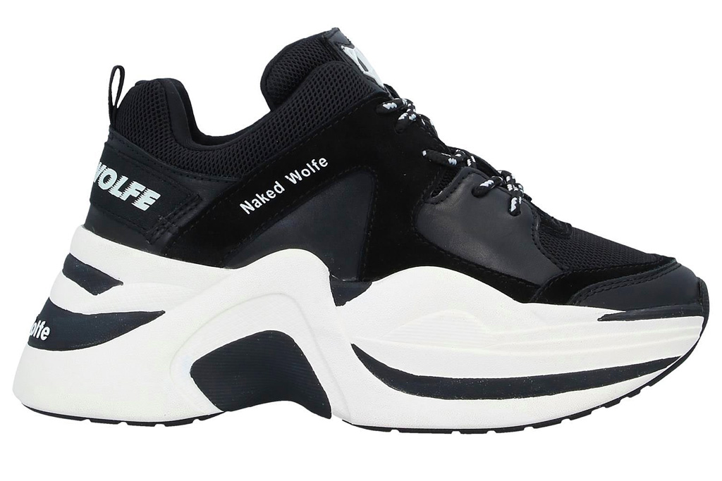 naked wolfe, sneakers, black, white, track, chunky, platform