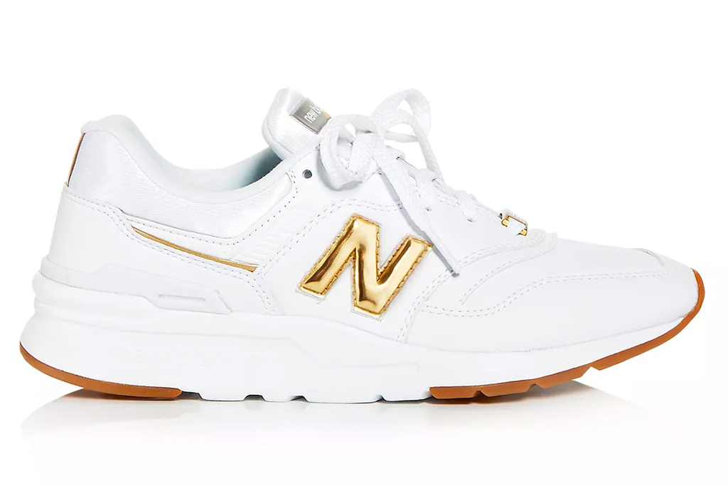 sneakers, white, gold, new balance