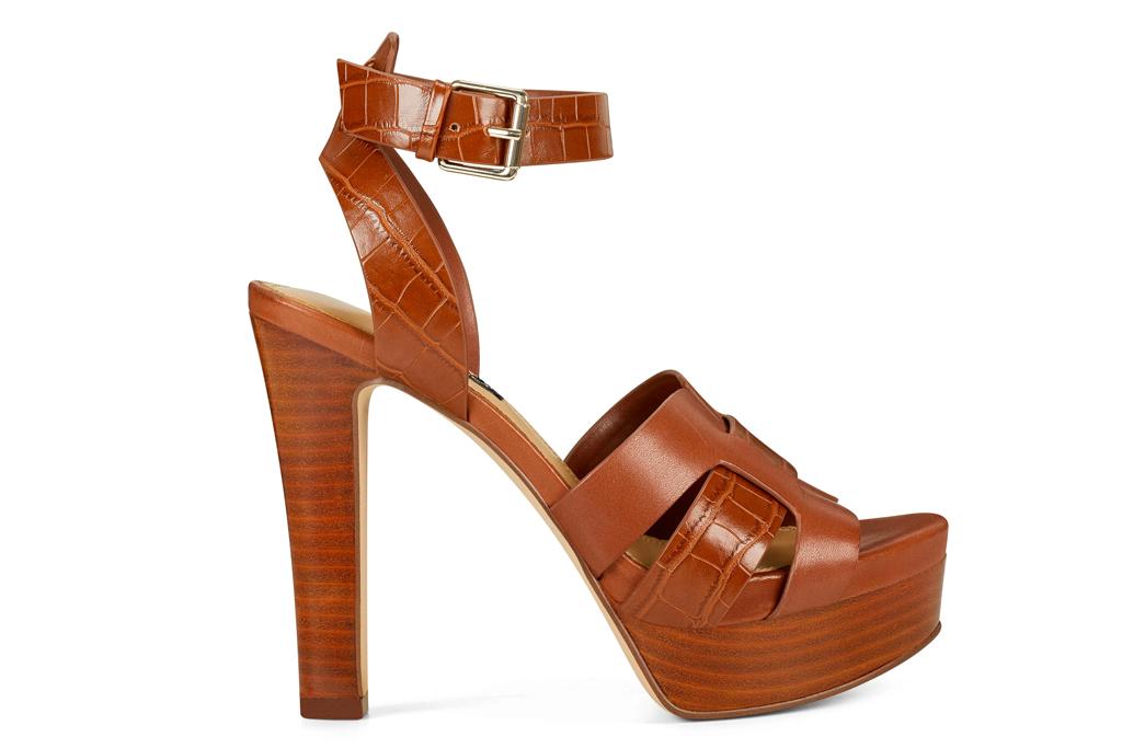 brown sandals, platform, heels, peep toe, nine west
